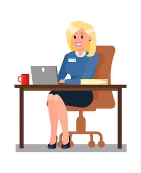 Vrouw die in bureau vlakke vectorillustratie werkt