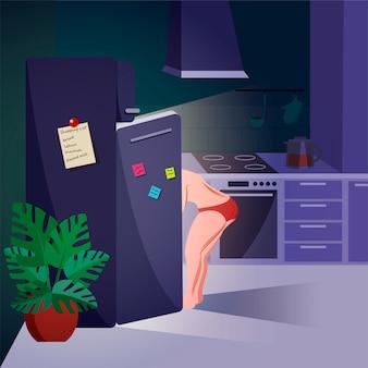 Vrouw die in de koelkast nacht bekijkt. nachtelijk overeten, eetstoornis en emotionele problemen concept. trendy cartoon illustratie.