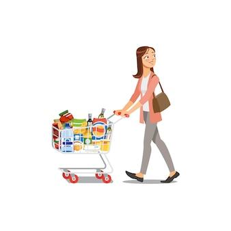 Vrouw die in het beeldverhaalvector winkelen van de kruidenierswinkelwinkel
