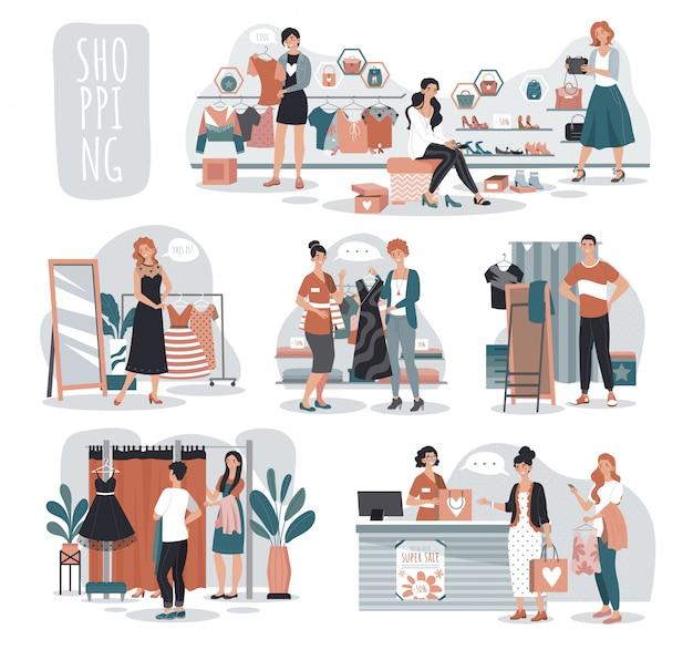 Vrouw die in manieropslag winkelen, mensen in boutique, illustratie