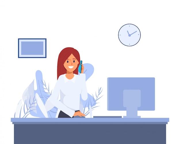 Vrouw die in verrichting bij halhotel werkt. callcenter of ontvangstkarakter. hotel service baan.