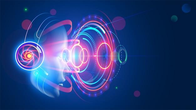 Vrouw die in vr-hoofdtelefoon holografische abstracte interface van vergrote werkelijkheid bekijken