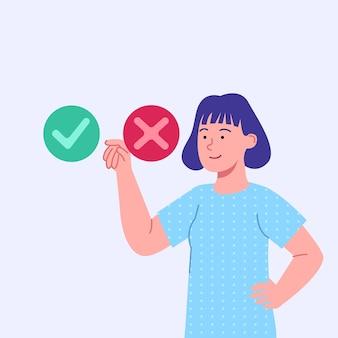 Vrouw die ja of nee concept vlakke afbeelding kiest