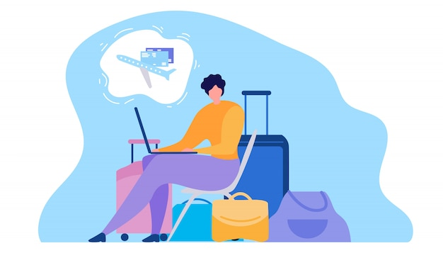 Vrouw die kaartjes online vlak vectorconcept kopen