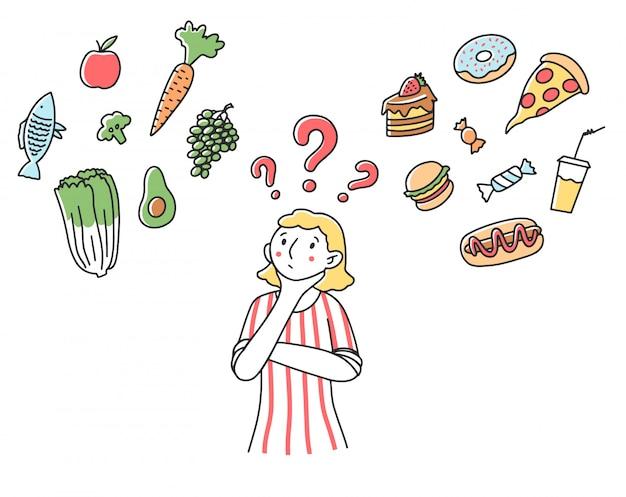 Vrouw die keus voor haar dieetillustratie maakt