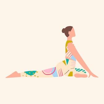 Vrouw die kleurrijke kleren draagt die yoga doet. gezondheidszorg. sport en levensstijl concept. meisje in top en leggins met abstracte patronen. vlakke afbeelding