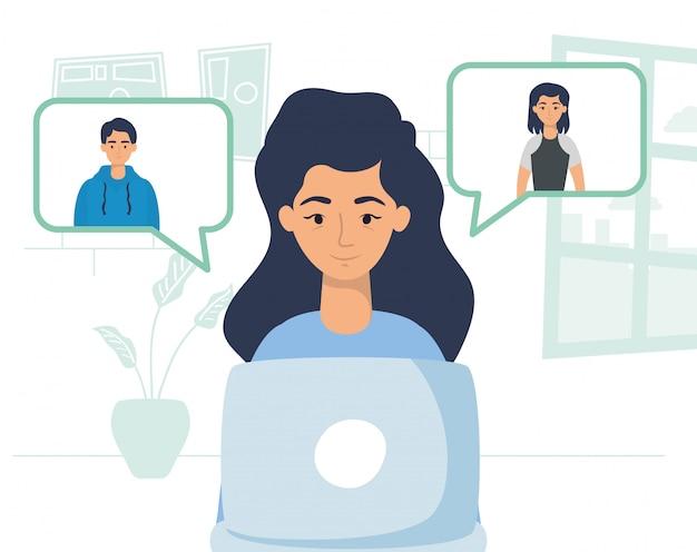 Vrouw die laptop met behulp van om te communiceren en thuis te blijven