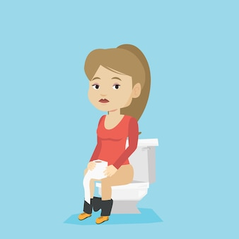 Vrouw die lijdt aan diarree of obstipatie.