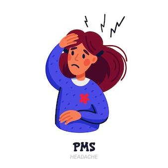 Vrouw die lijdt aan premenstrueel syndroom, zoals hoofdpijn