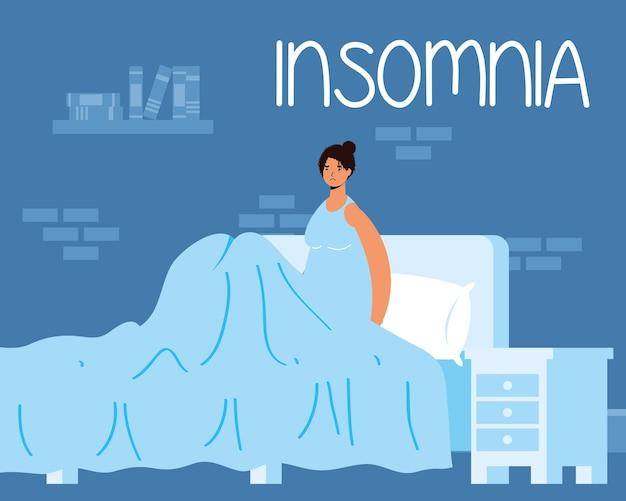Vrouw die lijdt aan slapeloosheid karakter illustratie
