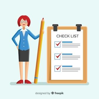 Vrouw die lijst gigantische controlelijst controleert