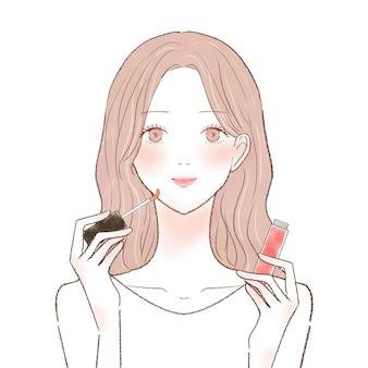 Vrouw die lipgloss toepast. op een witte achtergrond.