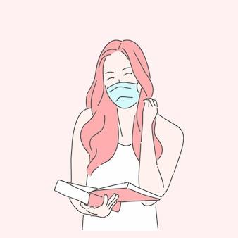 Vrouw die medisch masker draagt om covid-19 te beschermen of ziekte, griep, luchtvervuiling, vervuilde lucht, wereldvervuilingconcept te voorkomen.