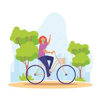 Vrouw die medisch masker in het ontwerp van de het landschapsscène van de fiets openluchtactiviteit draagt