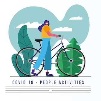 Vrouw die medische masker berijdt fiets en tekst