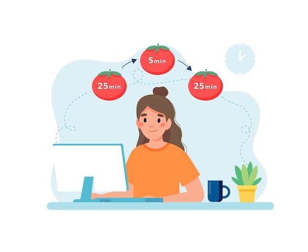 Vrouw die met computer werkt die tijdbeheer gebruikt