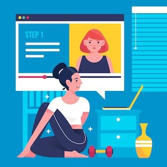 Vrouw die met de online dag van de cursussenyoga uitwerkt