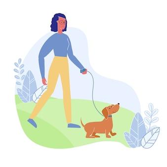 Vrouw die met de vlakke illustratie van de hond loopt