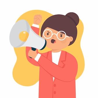 Vrouw die met een geïllustreerde megafoon gilt