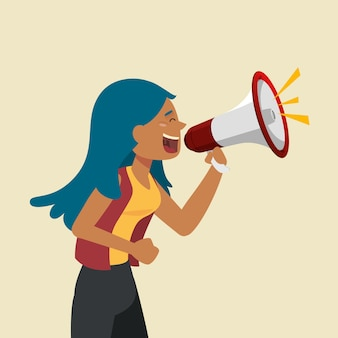 Vrouw die met een megafoon gilt