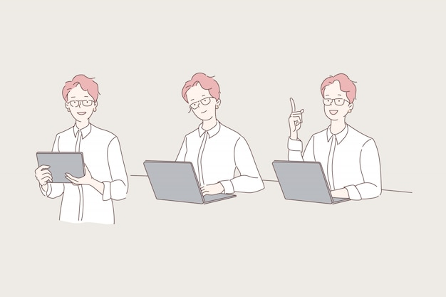 Vrouw die met laptop illustratiereeks werkt