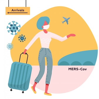 Vrouw die met medisch gezichtsmasker en reistas reist die zich van aankomstrichting beweegt. mers-cov midden-oosten respiratoir syndroom coronavirus
