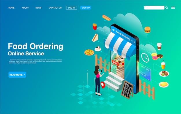 Vrouw die met mobiele telefoon voedsel online bestelt
