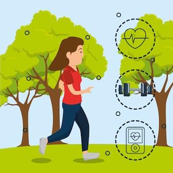 Vrouw die met sportenpictogrammen loopt