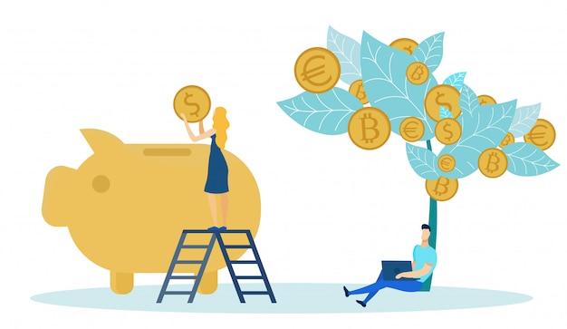 Vrouw die muntstukken van geldboom zetten in bank.