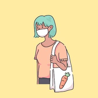 Vrouw die naar kruidenierswinkel gaat die de illustratie van het maskervirus draagt