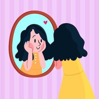 Vrouw die naar zichzelf kijkt en gelukkig is