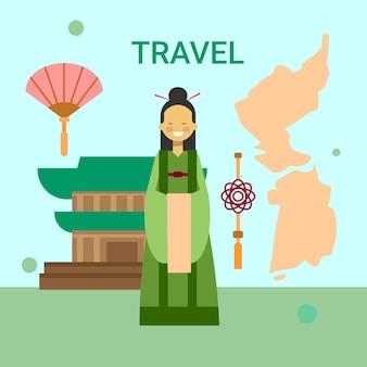 Vrouw die nationale koreaanse kleding over de kaart en de tempel van zuid-korea draagt