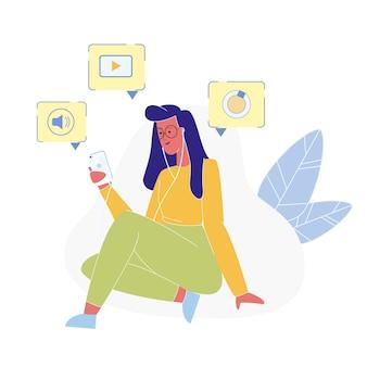 Vrouw die nieuwe mobiele telefoon vlakke illustratie gebruikt