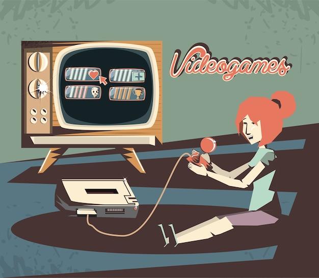 Vrouw die ontwerp van de videogame retro vectorillustratie spelen