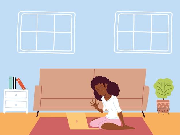 Vrouw die op afstand werkt vanuit haar huisillustratie