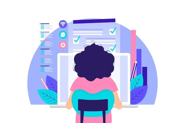 Vrouw die op de computer werkt
