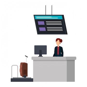 Vrouw die op de plaats van de checkinluchthaven werkt