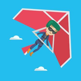 Vrouw die op deltavlieger vectorillustratie vliegt.