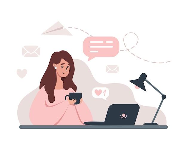 Vrouw die op laptop werkt vanuit huis illustratie