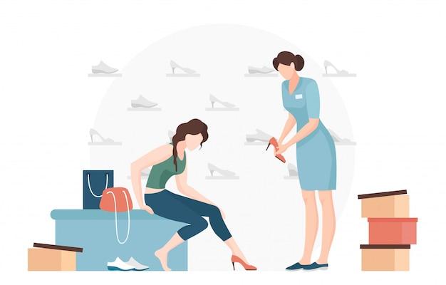 Vrouw die op schoenen probeert