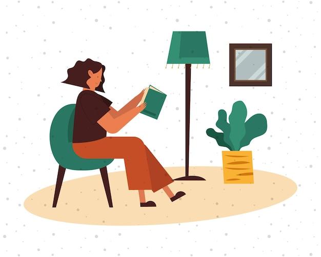 Vrouw die op stoel een boek thuisontwerp, onderwijsliteratuur leest en themaillustratie leest