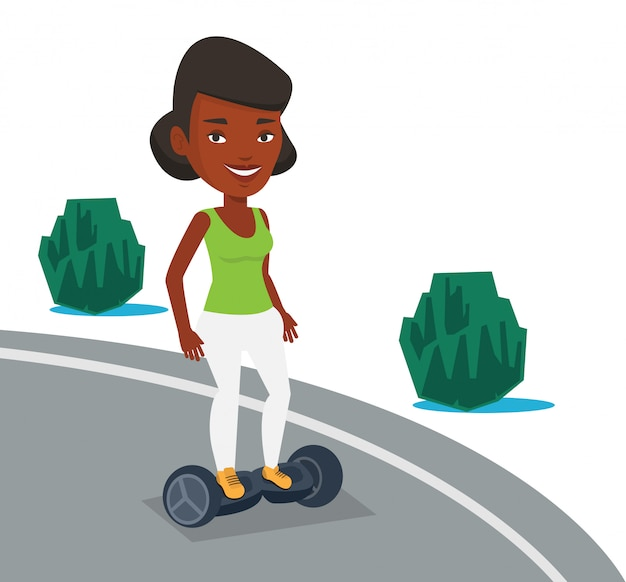 Vrouw die op zelf-in evenwicht brengt elektrische autoped berijdt.
