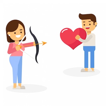 Vrouw die pijlen in de liefde van de hartvorm van de holding van de mens werpt