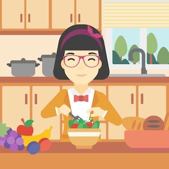 Vrouw die plantaardige salade vectorillustratie koken.