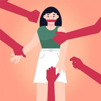Vrouw die pro burgerrechtenconcept tot zwijgen wordt gebracht