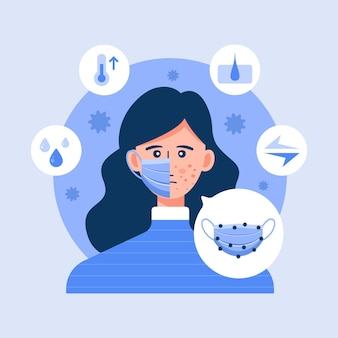 Vrouw die problemen heeft met acne veroorzaakt door gezichtsmasker