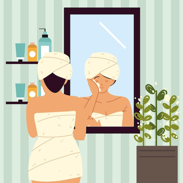Vrouw die room toepast die spiegel kijkt