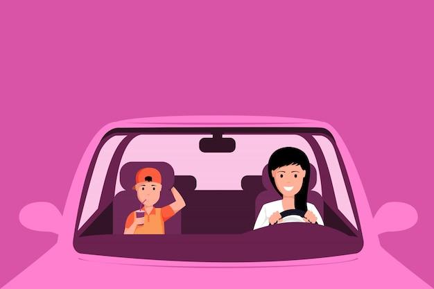 Vrouw die roze autoillustratie drijven. moeder en zoon zitten aan de voorkant stoelen van auto, familie road trip. jonge jongen die frisdrank met stro in voertuig drinkt dat op roze wordt geïsoleerd