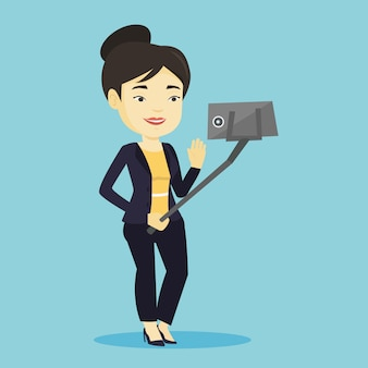 Vrouw die selfie vectorillustratie maken.