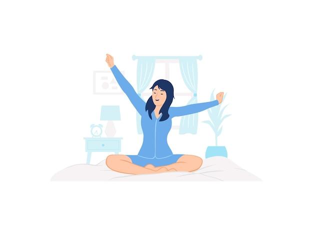 Vrouw die slaappakken draagt, nachtkleding pyjama die wakker wordt in haar bed, zittend en zijn armen concept illustratie uitrekt
